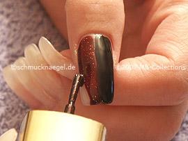 Nail polish in the colour dark-red-glitter