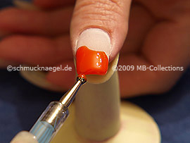 By Synthetic fingernails also paint the edge of the fingernail.