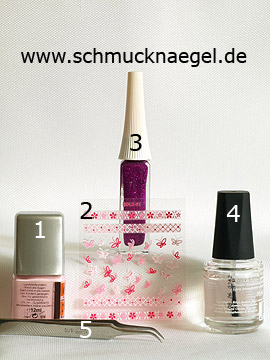 Products for the nail art motif with 3D nail sticker - Nail polish, 3D nail sticker, Nail art liner