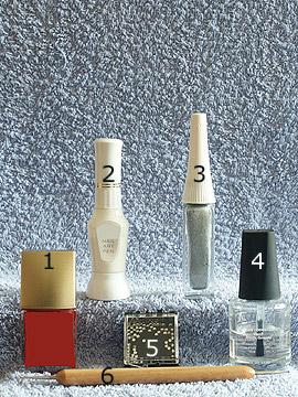 Products for marbling motif - Nail polish, Nail art Pen, Nail art Liner, Strass stones, Spot-Swirl, Clear nail polish