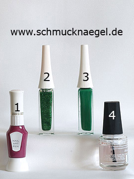 Products for the fingernail motif in green-glitter - Nail art pen, Nail art liner
