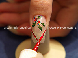 Nail art liner in the colour red-Glitter