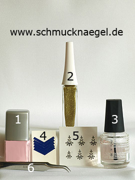 Products for the motif with nail sticker and nail lacquer in rosa - Nail polish, Nail art liner, French manicure templates, Nail sticker