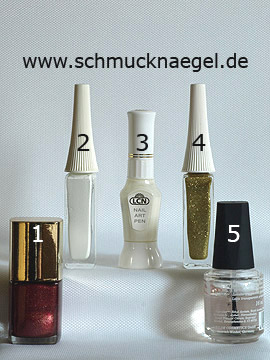 Products for the French motif with nail lacquer in copper - Nail polish, Nail art pen, Nail art liner