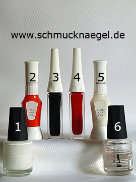 Products for the nail art 'Snowman with Christmas cap as fingernail motif' - Nail polish, Nail art pen, Nail art liner
