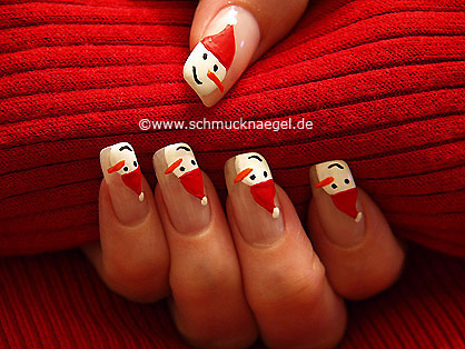 Snowman with Christmas cap as fingernail motif