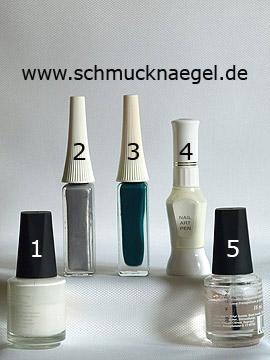 Products for the nail art 'Winter landscape as Christmas motif' - Nail polish, Nail art liner, Nail art pen
