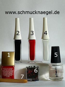 Products for the nail art 'Christmas sleigh as fingernail motif' - Nail polish, Nail art liner, Strass stones, Spot-Swirl