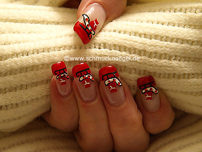 Christmas sleigh as fingernail motif