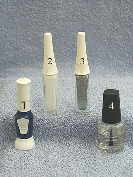 Products for nail design in dark-blue - Nail polish, Nail art liner, Clear nail polish