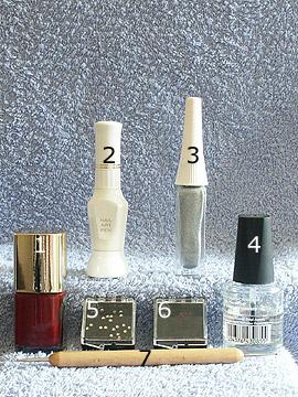Products for French party nails - Nail polish, Strass stones, Nail art liner, Nail art pen, Spot-Swirl, Clear nail polish