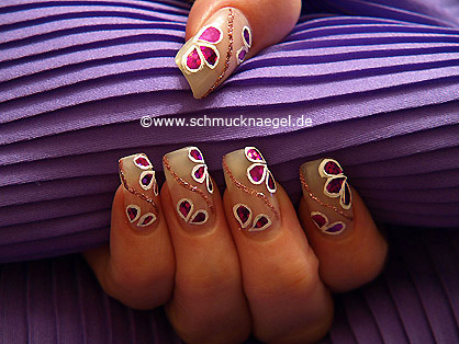 Nail art in old rose with hologram foil in fuchsia