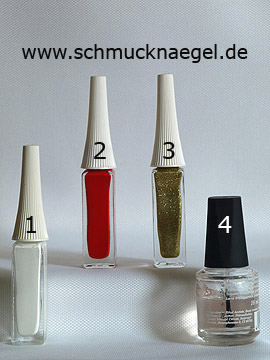 Products for the carnival French motif in red and white - Nail art liner