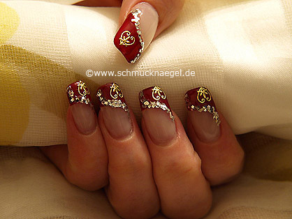 Valentine day motif with glitter lacquer