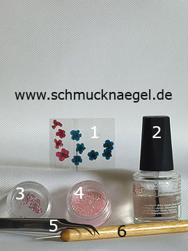 Products for the nail art 'Springtime motif with dried flowers' - Dried flowers, Strass stones, Glitter-Powder, Spot-Swirl