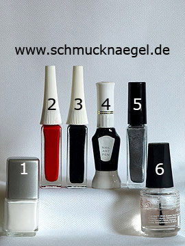 Products for the fingernail French with nail lacquer in white - Nail polish, Nail art liner, Nail art pen