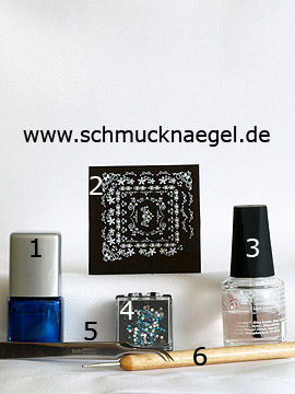 Products for the motif with strass stones and nail lacquer in blue - Nail polish, Nail sticker, Strass stones, Spot-Swirl