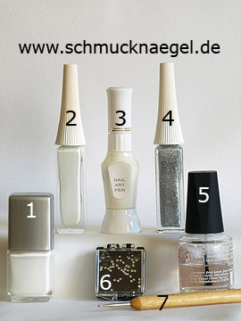Products for the nail art 'Wedding French motif with strass stones' - Nail polish, Nail art liner, Nail art pen, Strass stones, Spot-Swirl