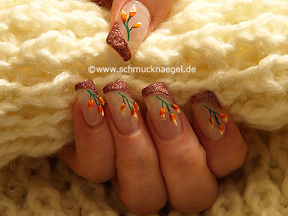Fingernail motif with dried flowers