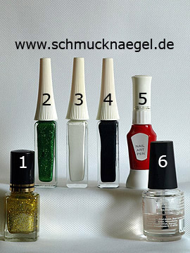 Products for the French motif with nail art pen and liner - Nail polish, Nail art liner, Nail art pen