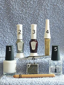 Products for French pull method - Nail polish, Strass stones, Nail art liner, Nail art pen, Spot-Swirl, Clear nail polish