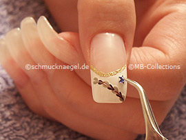 nail art liner in the colour gold-glitter, clear nail polish, tweezers and stellar strass stone