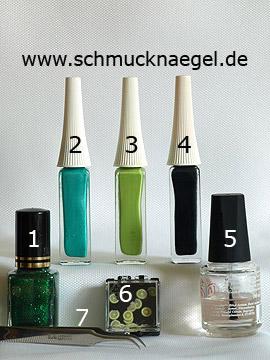 Products for the nail art with fimo clay and nail lacquer - Nail polish, Nail art liner, Fimo fruits