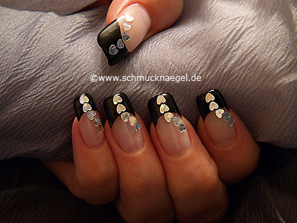 French motif with hologram hearts