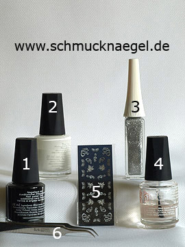 Products for the nail decoration with sticker and nail lacquer - Nail polish, Nail art liner, Nail sticker