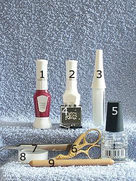 Products for French motif in lavender - Nail polish, Strass stones, Nail art liner, Nail art pen, Spot-Swirl, Clear nail polish