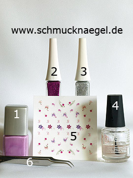 Products for the French fingernail design with nail sticker - Nail polish, Nail art liner, Nail sticker