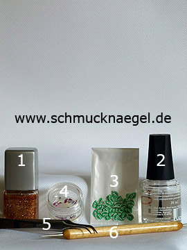 Products for the motif with fimo fruits and strass stones - Nail polish, Fimo fruits, Strass stones, Spot-Swirl