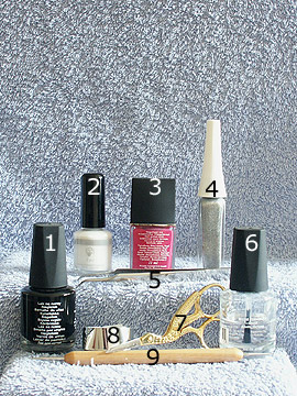 Products for design with metallic foil - Nail polish, Metallic foil adhesive, Metallic foil, Nail art liner, Spot-Swirl, Clear nail polish