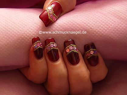 Nail art decoration - Fingernail motif with sequins