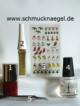 Products for the Christmas motif with fir tree sticker - Nail polish, Nail art liner, Christmas sticker