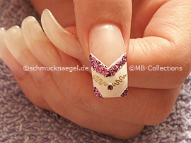 clear nail polish, rosewood skewer and strass stone in purpl