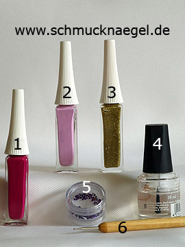 Products for the fingernail design with nail art liner - Nail art liner, Strass stones, Spot-Swirl