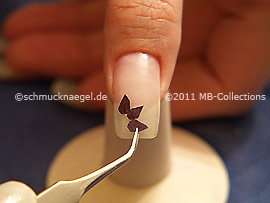 Dried flower petal and the tweezers