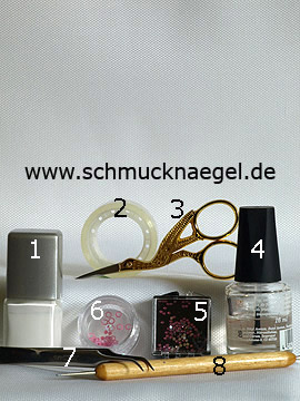 Products for the motif with nail art glitter hexagon in rosa - Nail polish, Strass stones, Inlay motifs, Spot-Swirl