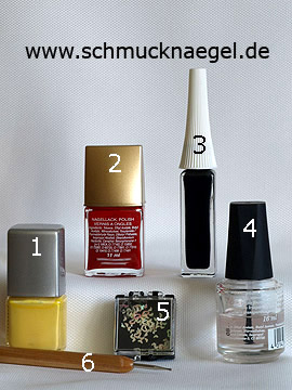 Products for the motif with nail lacquers and hologram heart - Nail polish, Nail art liner, Hologram hearts, Spot-Swirl