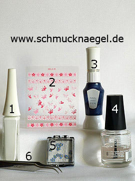 Products for the motif with dried flowers and 3D butterfly nail sticker - Nail art liner, 3D nail sticker, Nail art pen, Dried flowers