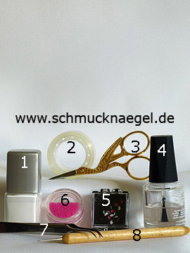 Products for the motif with micro pearls to create the fingernails - Nail polish, Strass stones, Micro pearls, Spot-Swirl