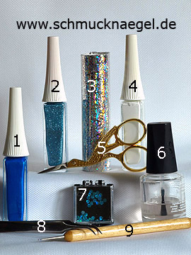 Products for the motif with hologram foil in silver and sequins in turquoise - Nail art liner, Hologram foil, Sequins, Spot-Swirl