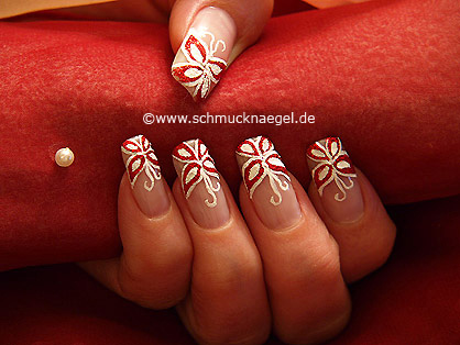 Butterfly motif with glitter nail lacquer in red