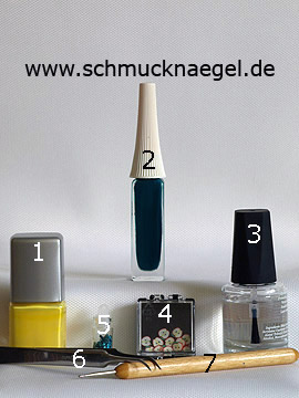 Products for the design with nail lacquer in yellow and fimo fruit - Nail polish, Nail art liner, Fimo fruits, Sequins, Spot-Swirl