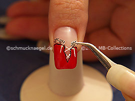Nail sticker and the tweezers