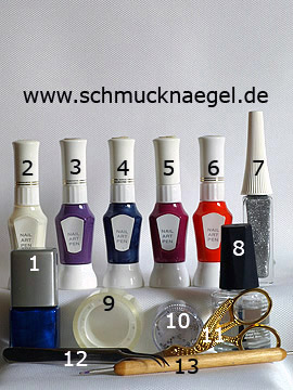 Products for the motif with nail art pens in various colours - Nail polish, Nail art pen, Nail art liner, Strass stones, Spot-Swirl