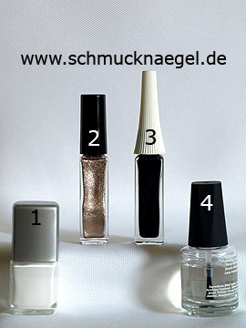 Products for the autumn motif with leaves in the colours gold, black and white - Nail polish, Nail art liner