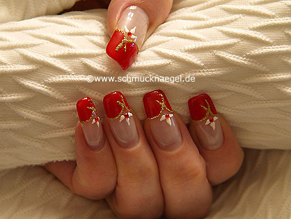 French motif with red nail lacquer