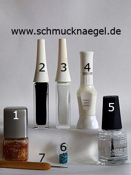 Products for the motif with nail lacquer in copper-glitter - Nail polish, Nail art liner, Nail art pen, Spot-Swirl, Sequins